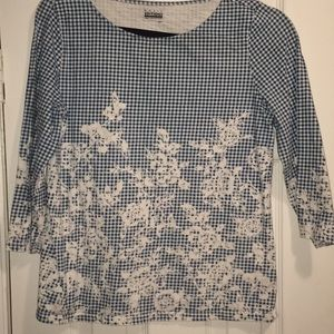 Vintage Blue and White Top